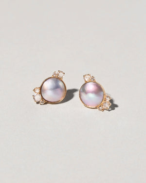 Front view of Mabe Pearl and Diamond Cluster Earrings