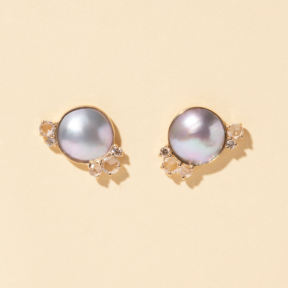 Mabe Pearl and Diamond Cluster Earrings