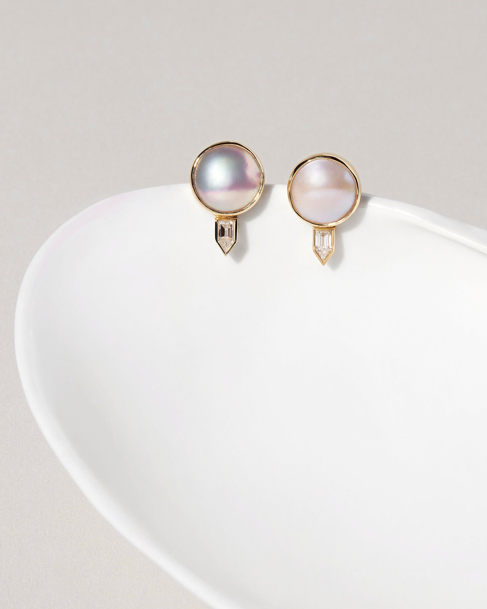 Front view of Mabe Pearl and Diamond Earrings