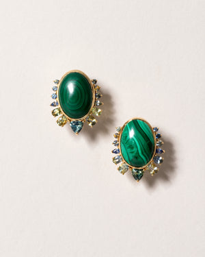 Malachite and Sapphire Earrings Front View