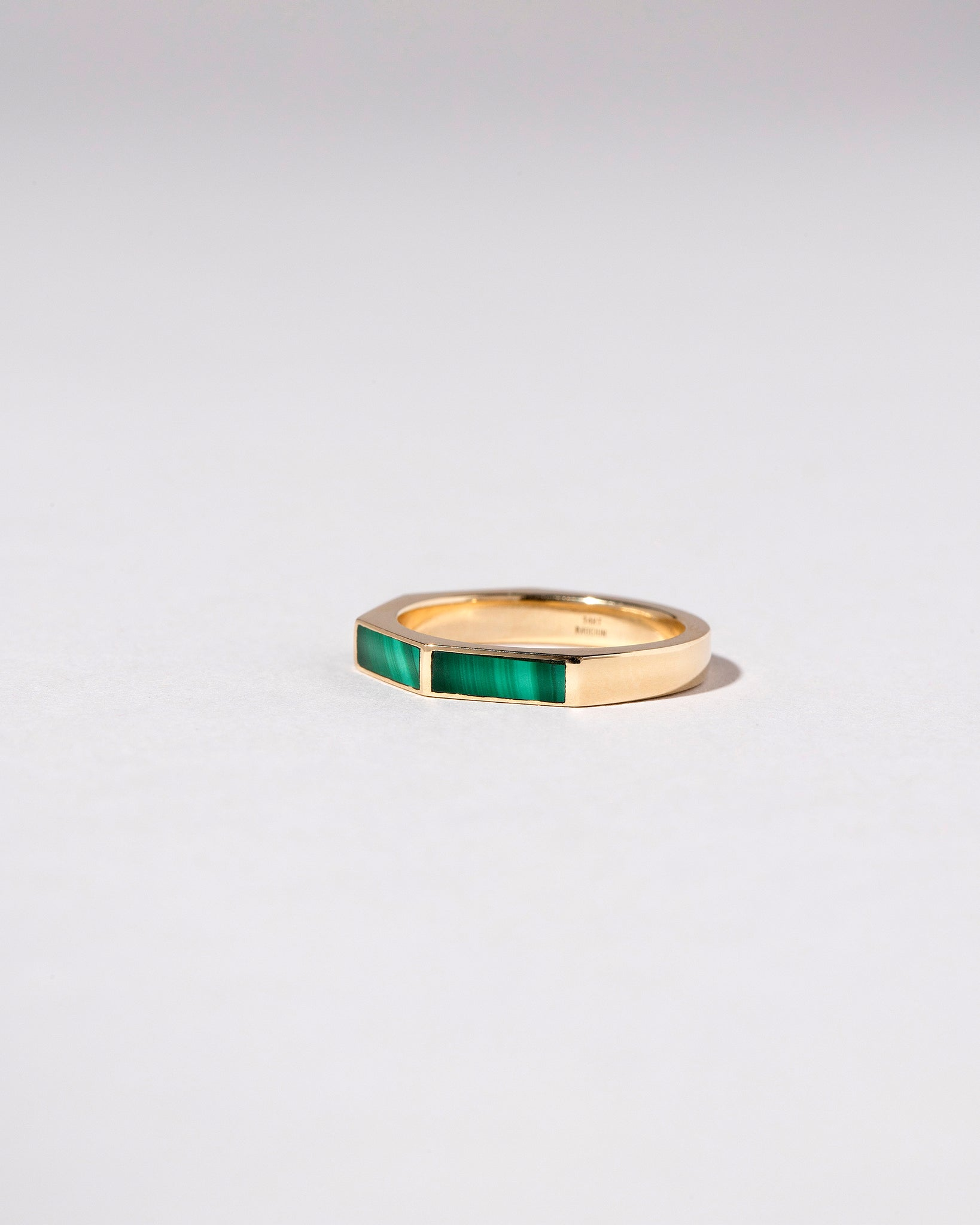 Segmented Inlay Band with Malachite Side View