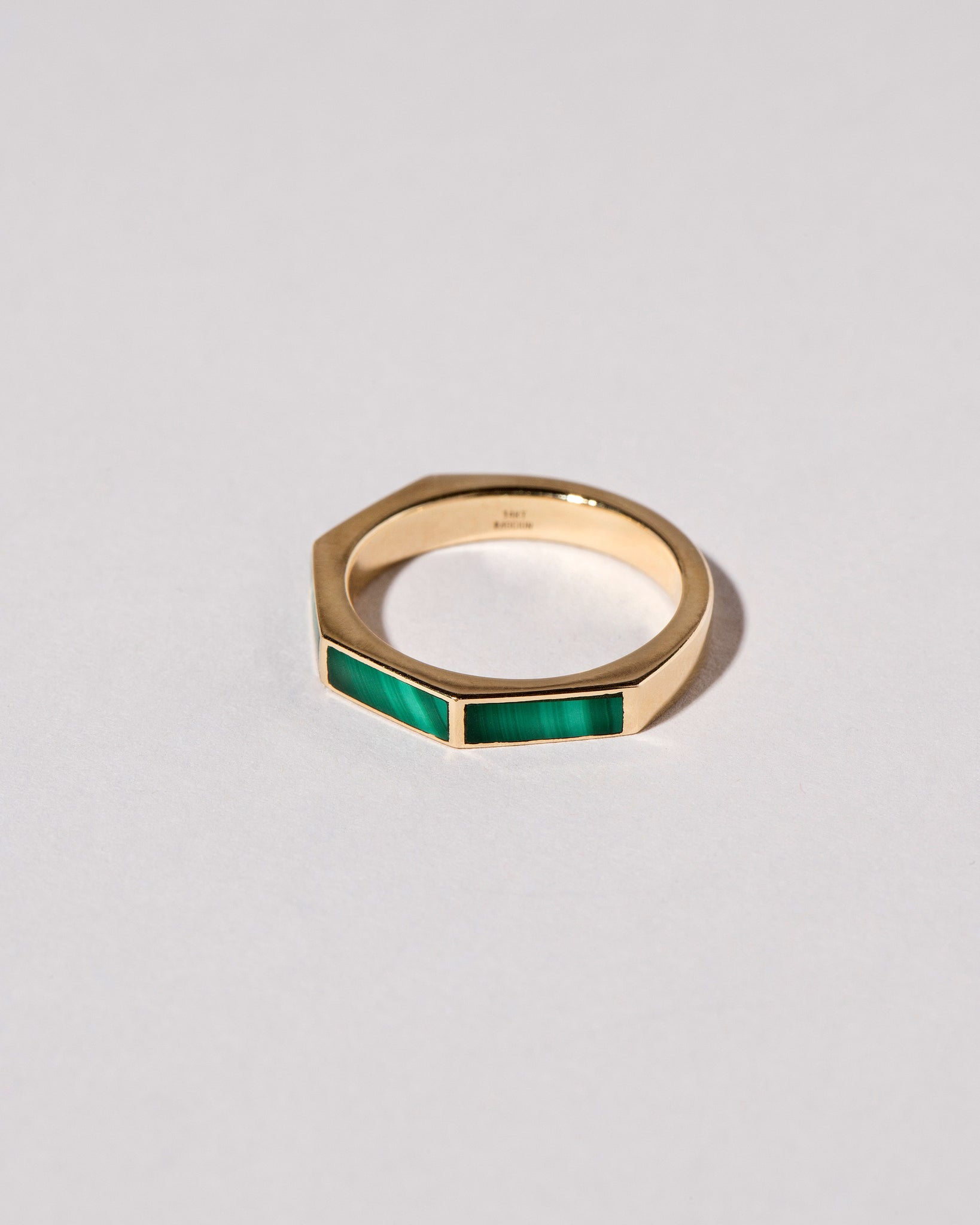 Top view of Segmented Inlay Band with Malachite