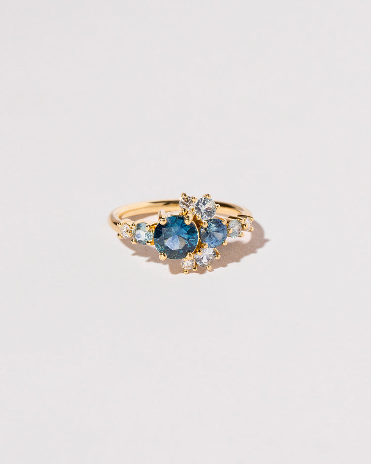 Front view Montana Sapphire Crescent Ring