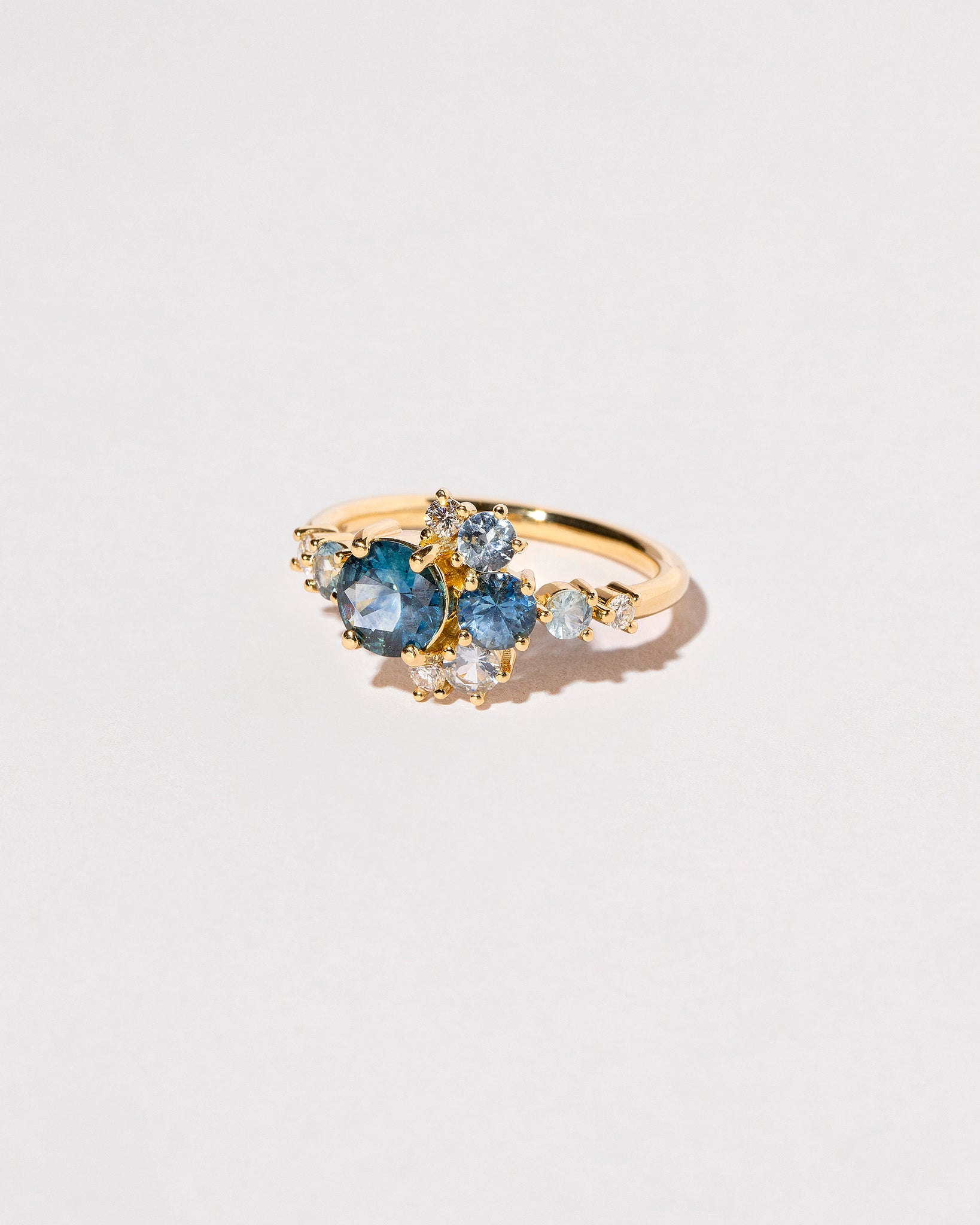 Montana Sapphire Crescent Ring on light color background