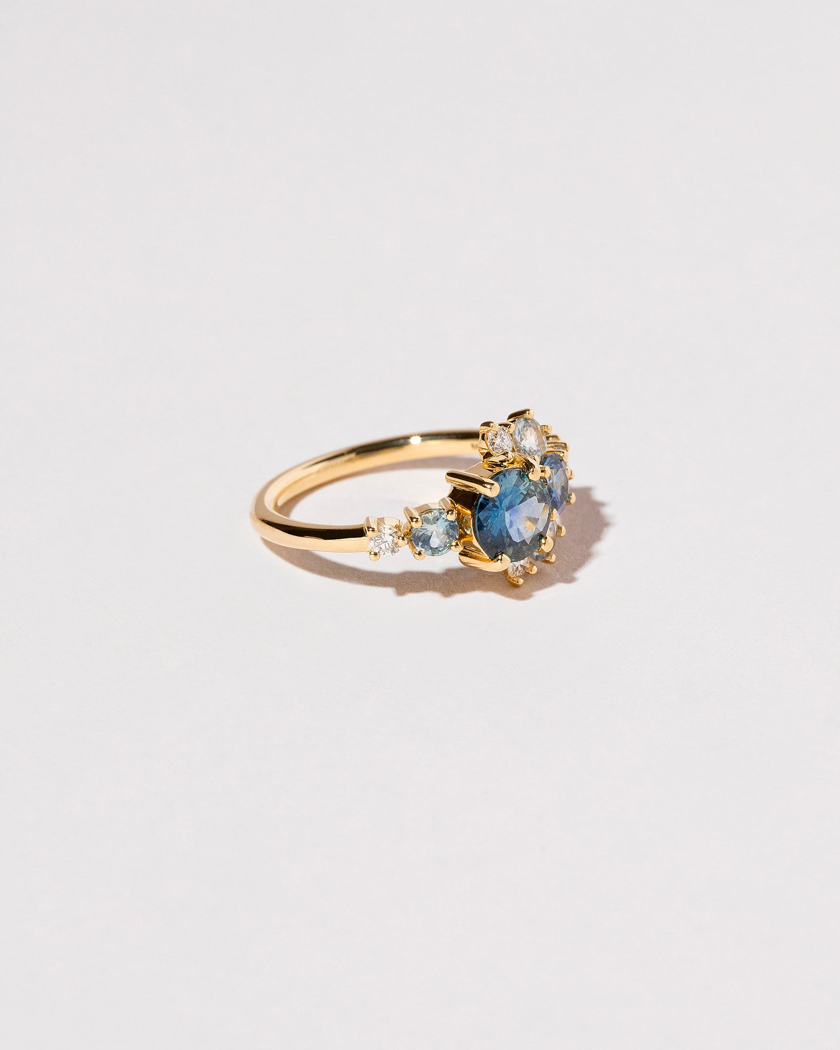 Right side view Montana Sapphire Crescent Ring