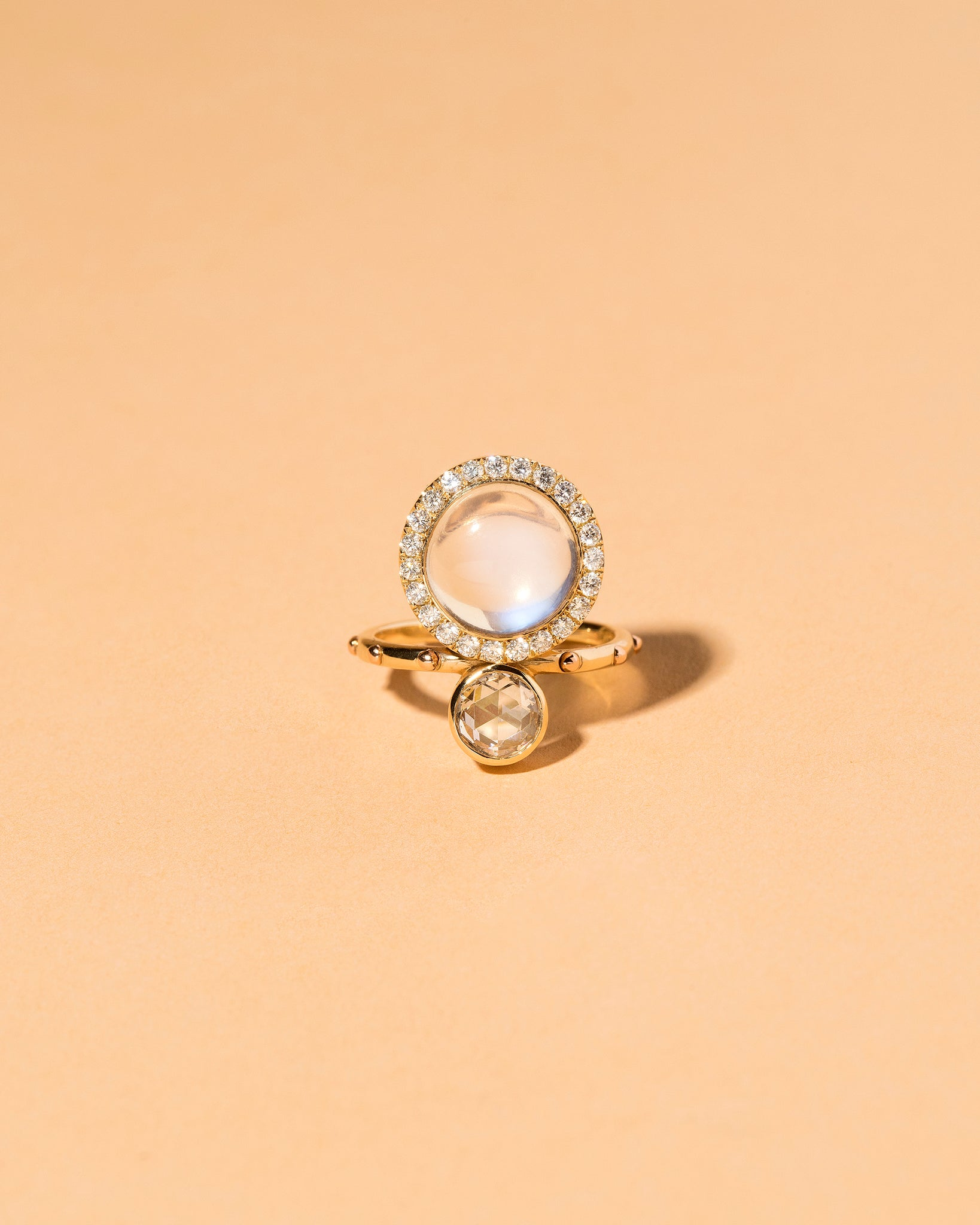 Moonstone & Diamond Cluster Ring Front View