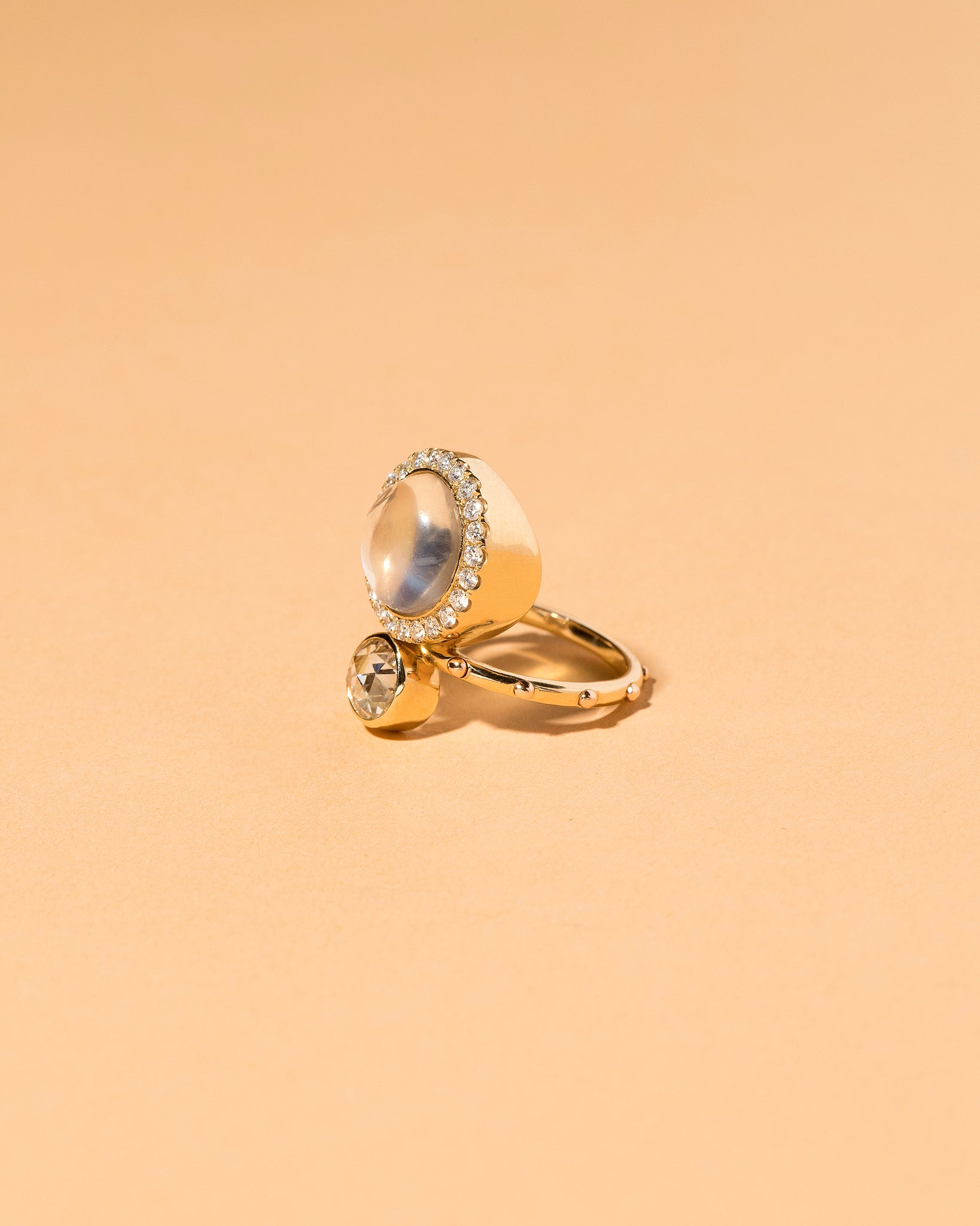 Moonstone & Diamond Cluster Ring Right Side