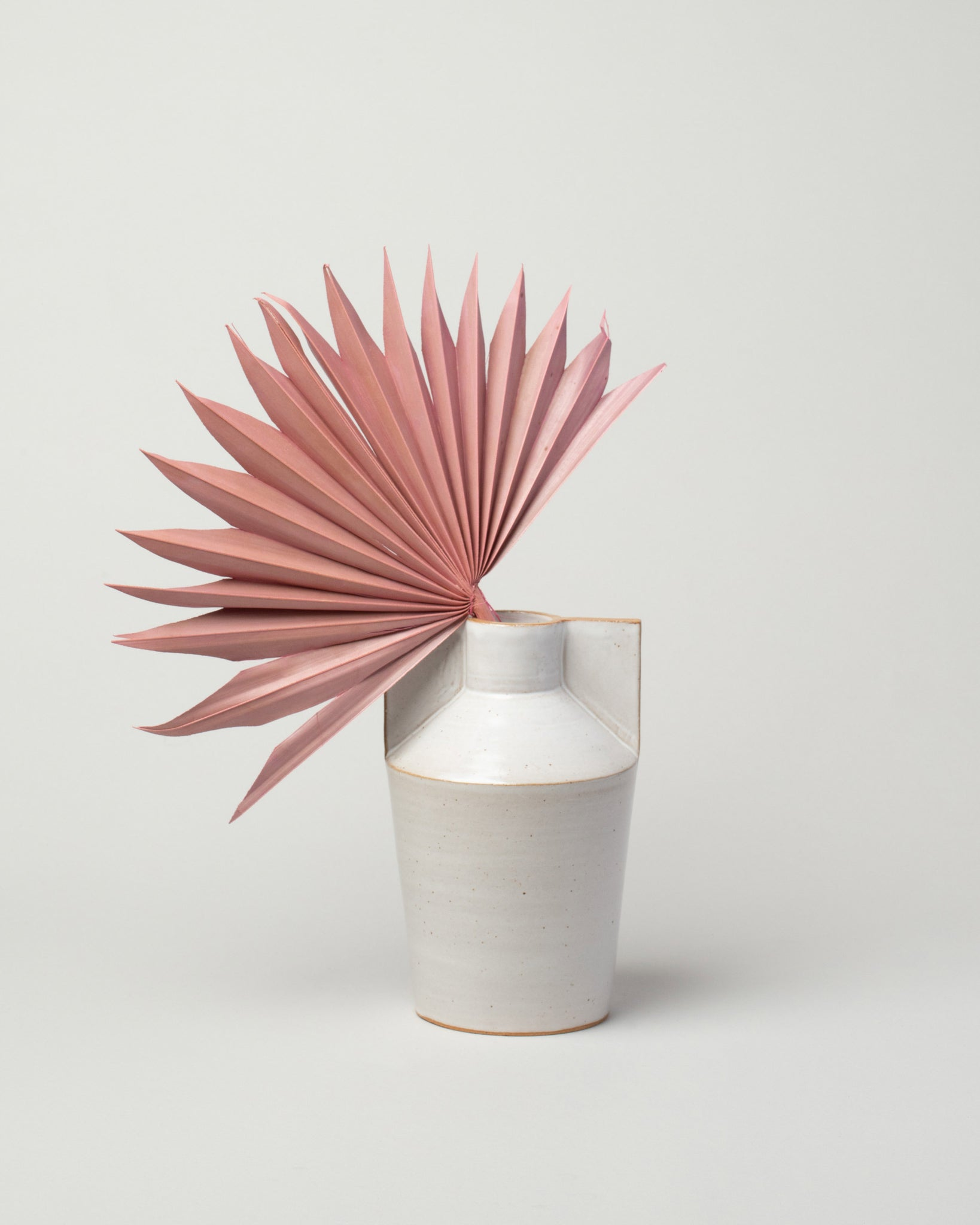 Wing Vase white styled with palm frond front view