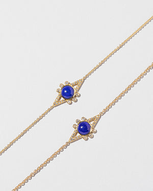 Lapis & Diamond Eye Bracelet on light color background