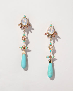 Opal, Sunstone & Turquoise Earrings