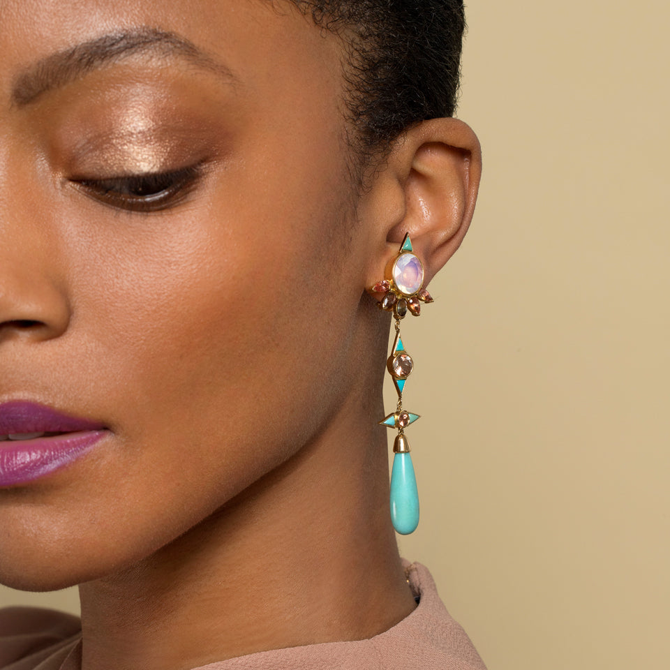 product_details::Opal, Sunstone & Turquoise Earrings