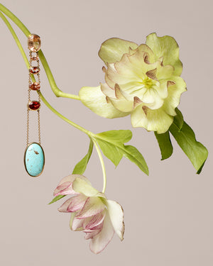 Oregon Sunstone and Persian Turquoise Earrings Styled
