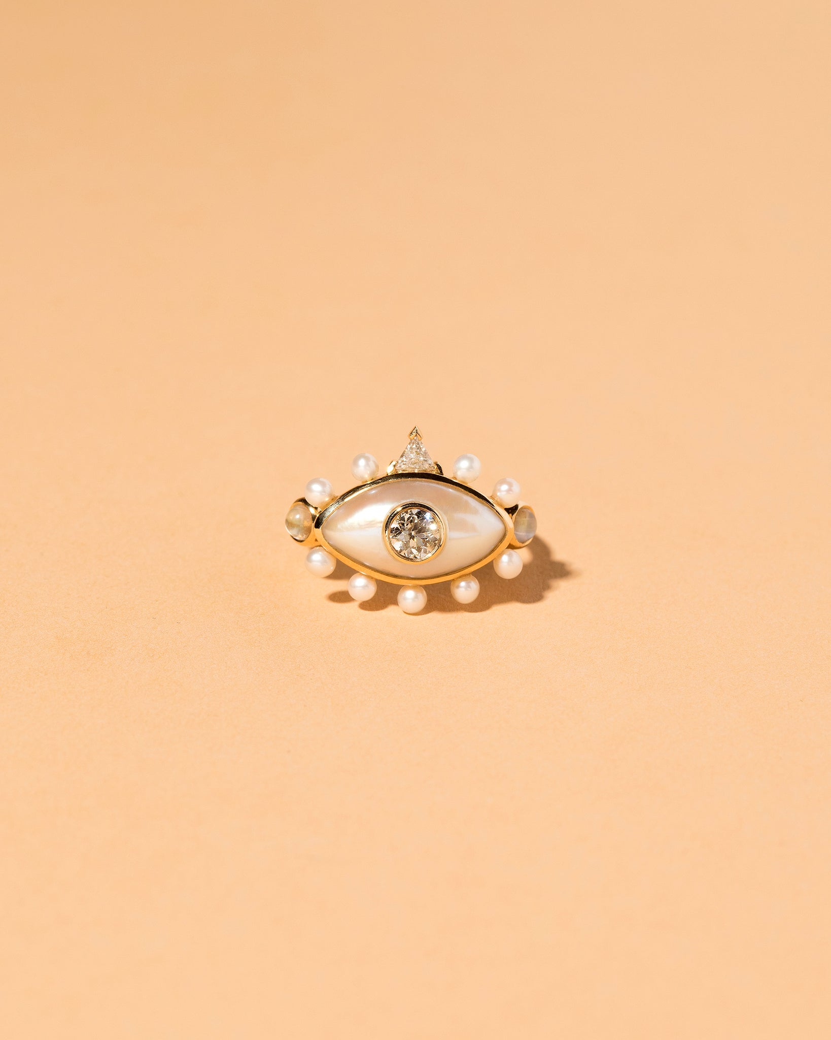 Pearl, Diamond and Moonstone Ring Front View