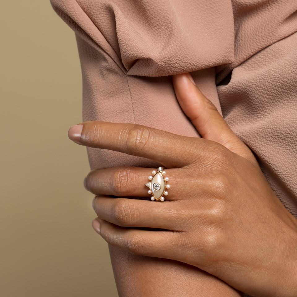 Pearl, Diamond and Moonstone Ring