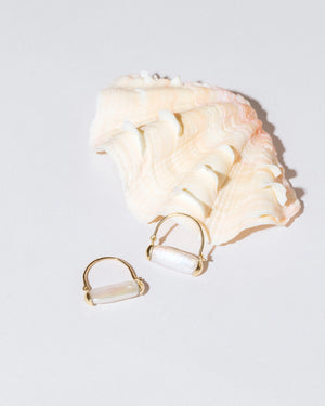 Pearl Hoop Earrings with sea shell