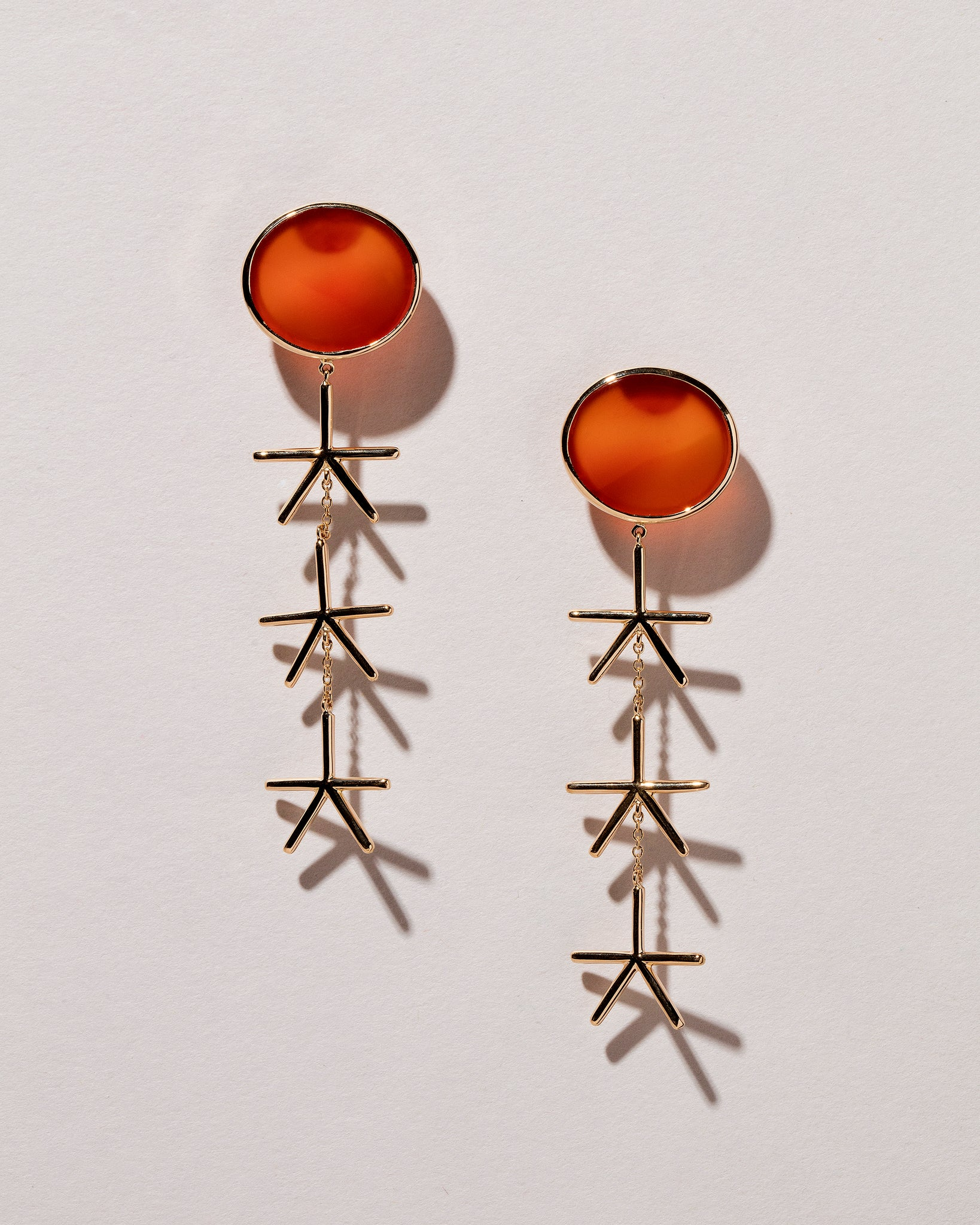 Red Sun Earrings front view