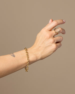 Round Box Chain Bracelet worn on model