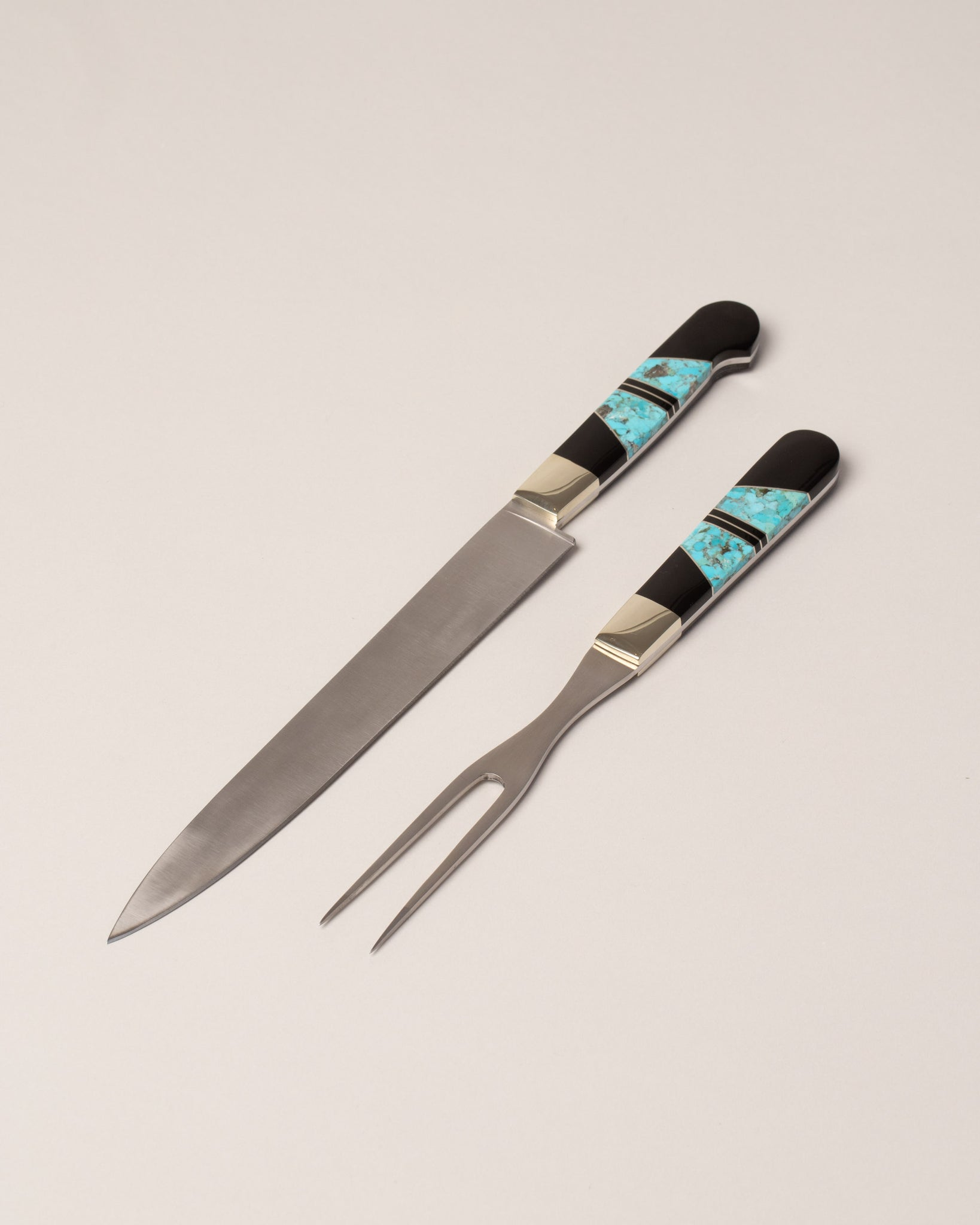 Santa Fe Stoneworks Carving Set in Jet & Turquoise