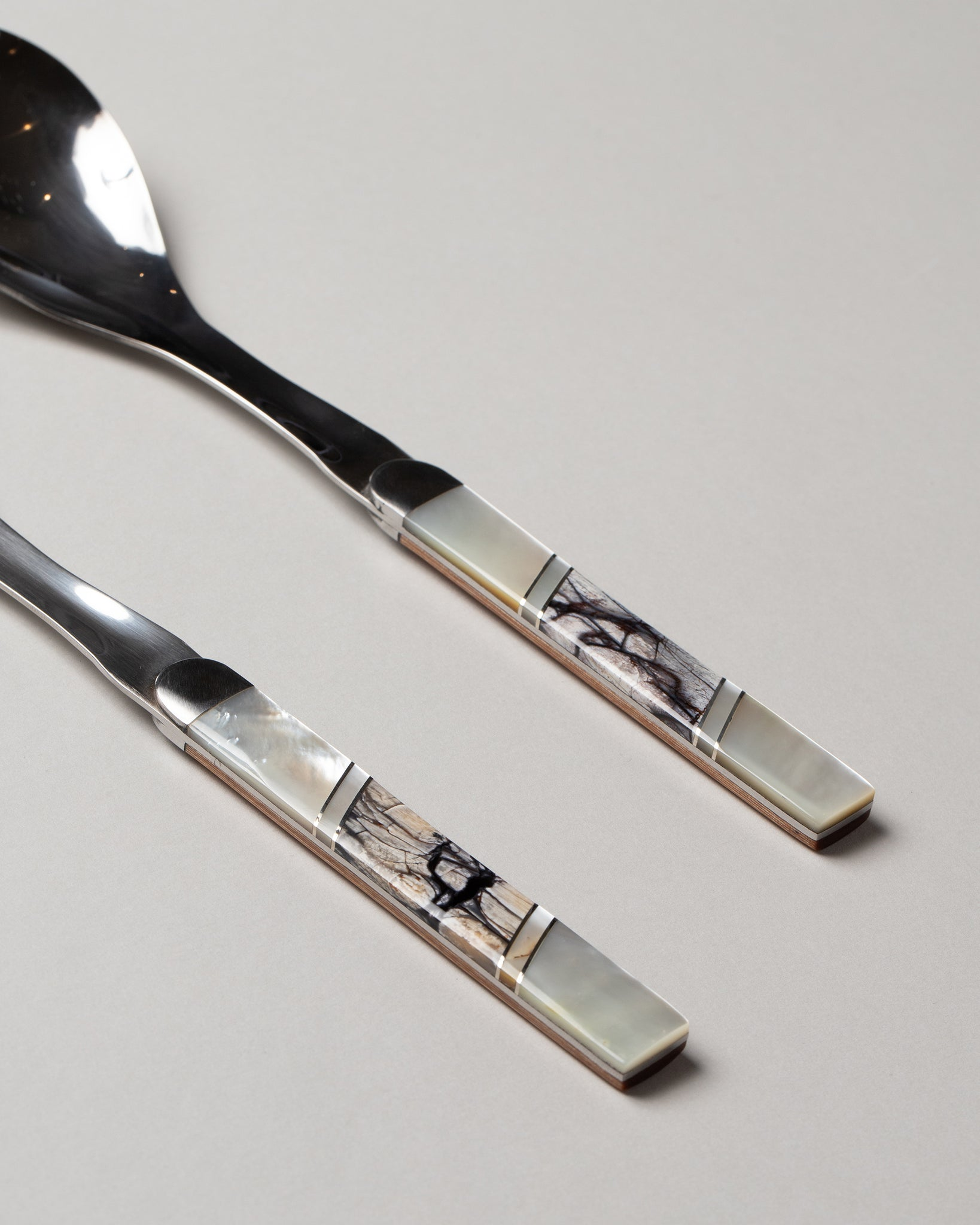 Salad Serving Set Mother of Pearl and Woolly Mammoth Tusk Closeup