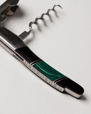 Waiter's Knife Malachite Closeup