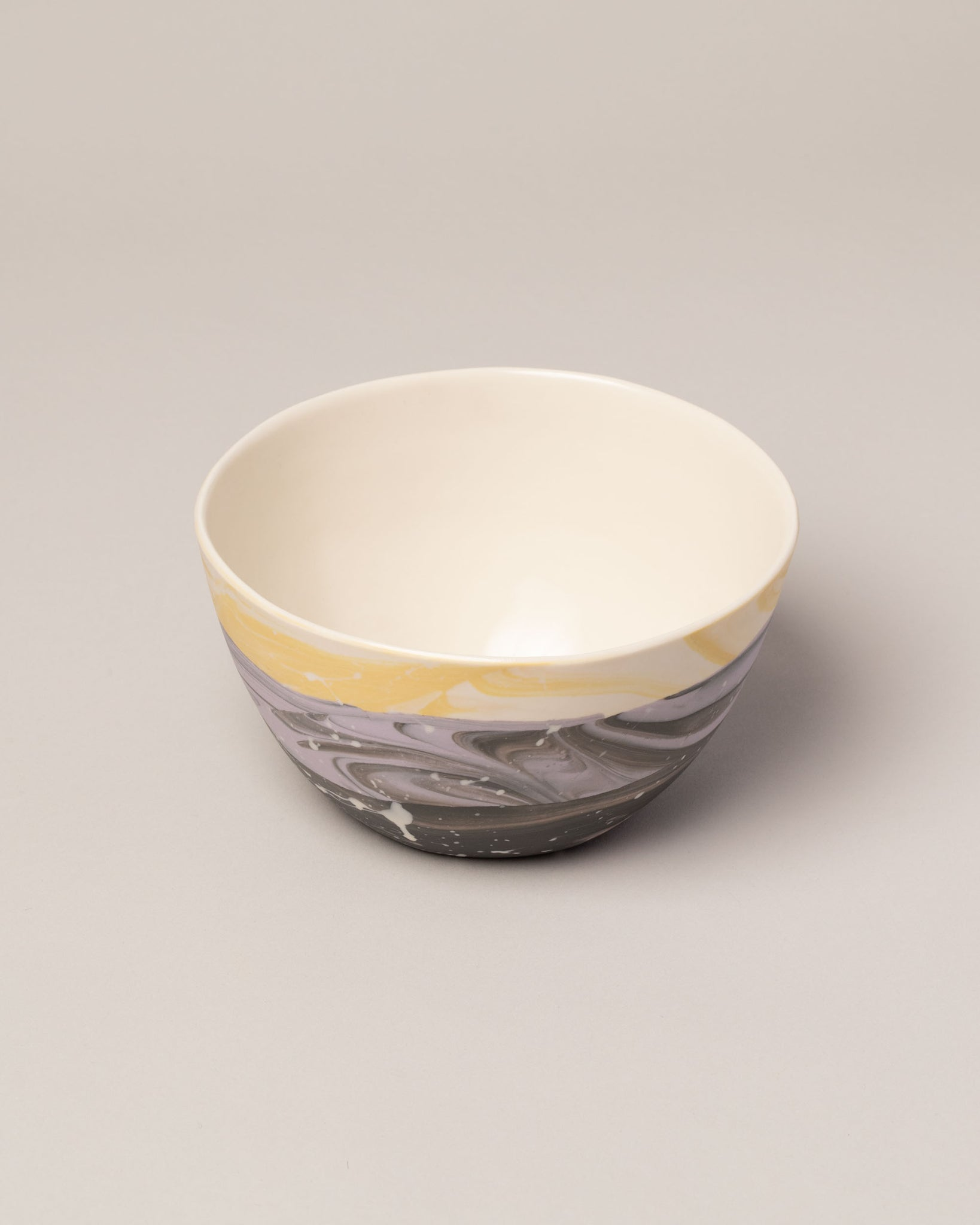 Stellar bowl in lavender and yellow top view