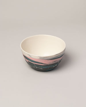 Stellar bowl in pink and teal top view