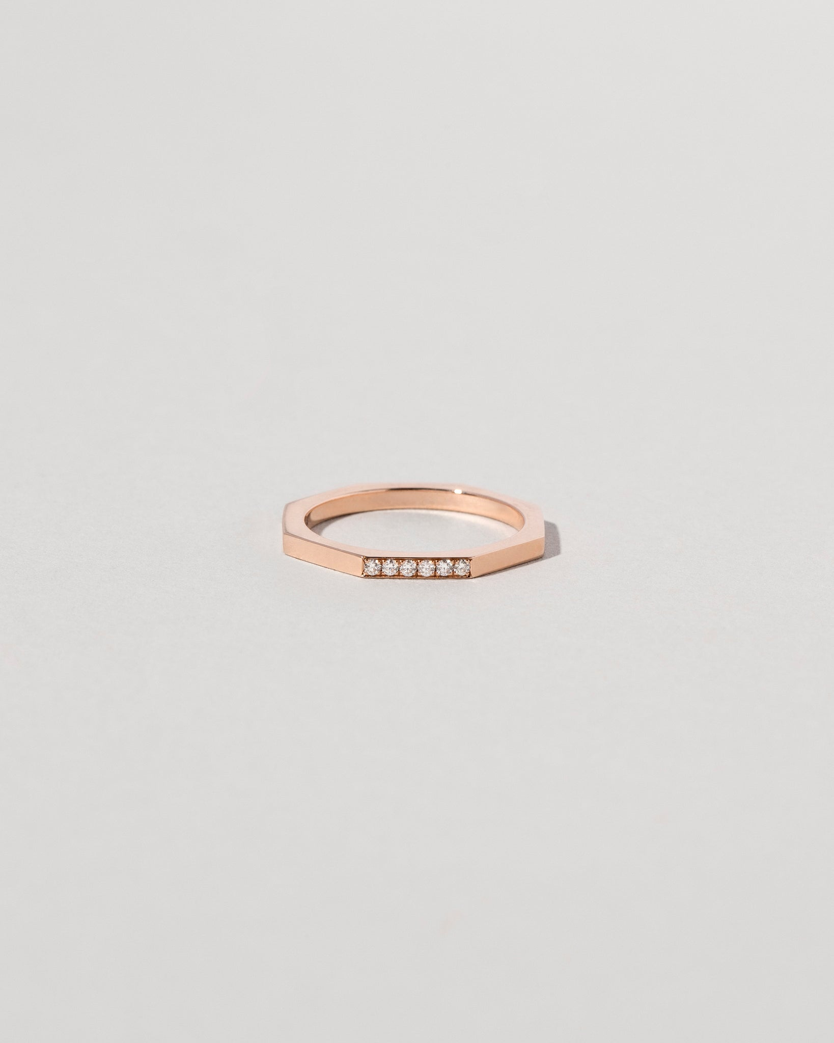 Segmented Single Side Pavé Band in Rose Gold