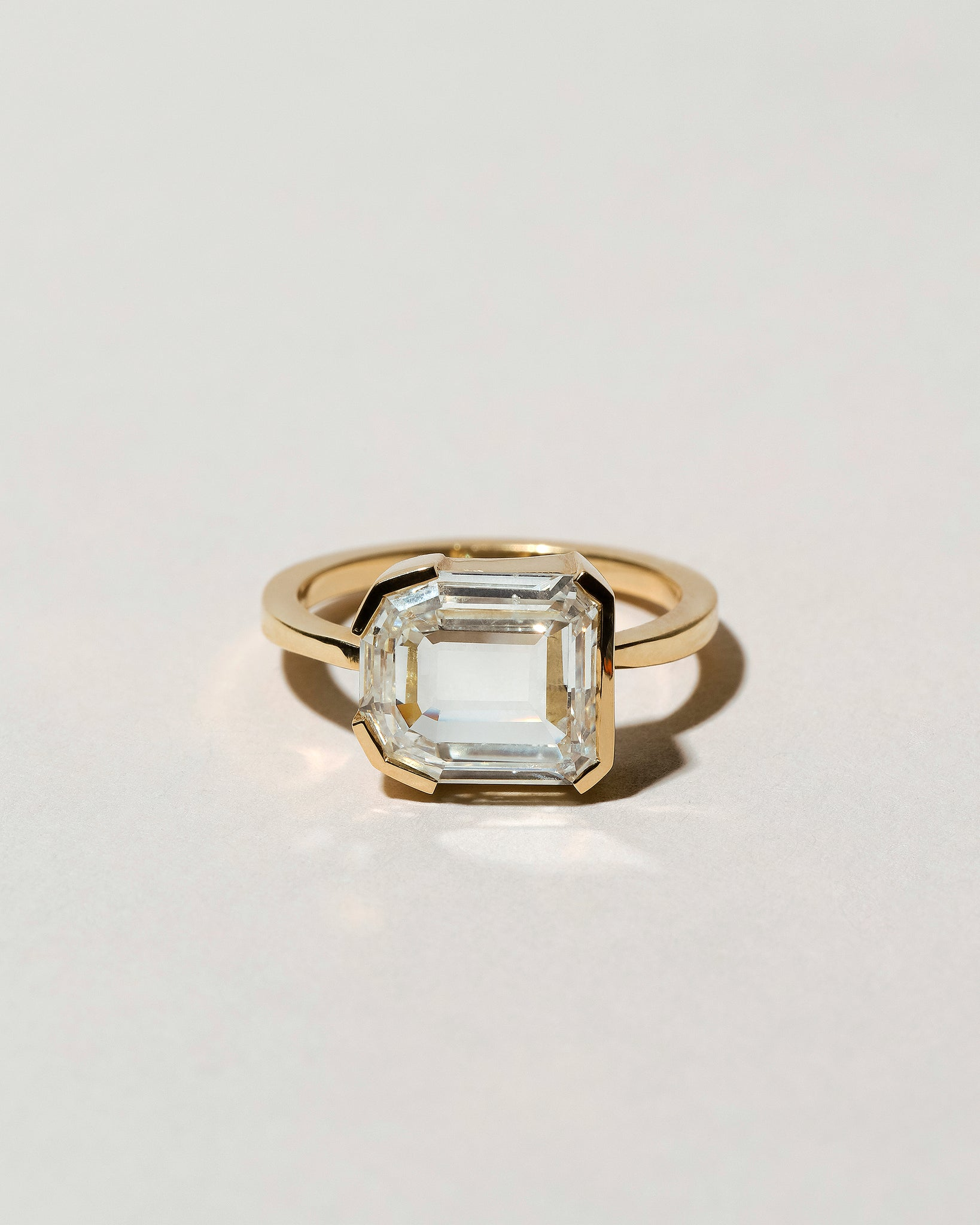 Shield Step Cut Diamond Ring Front View