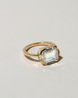 Shield Step Cut Diamond Ring Left Side