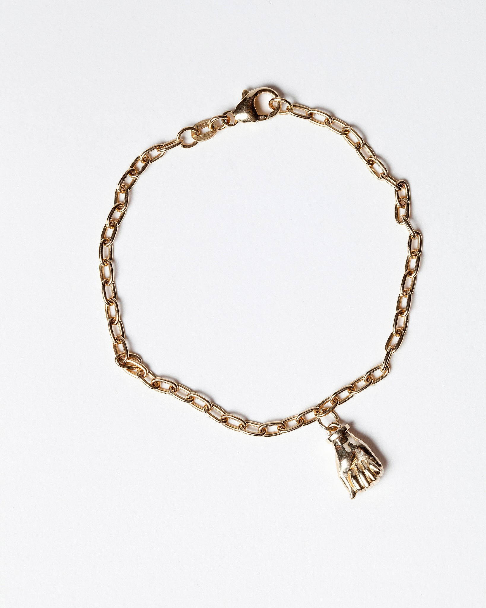 Sign Language Letter A Charm on Chain Bracelet