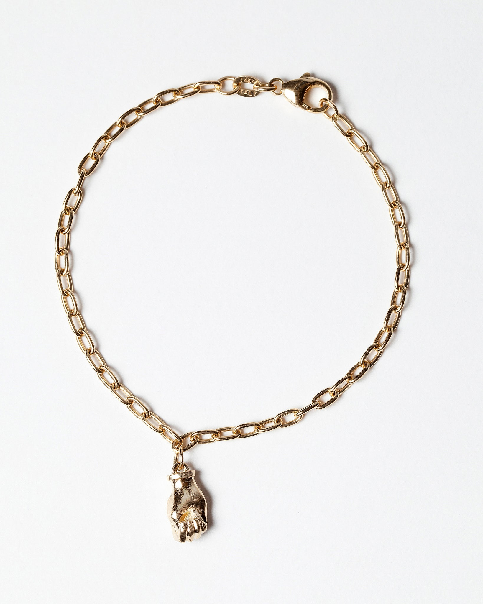Sign Language Letter M Charm on Chain Bracelet