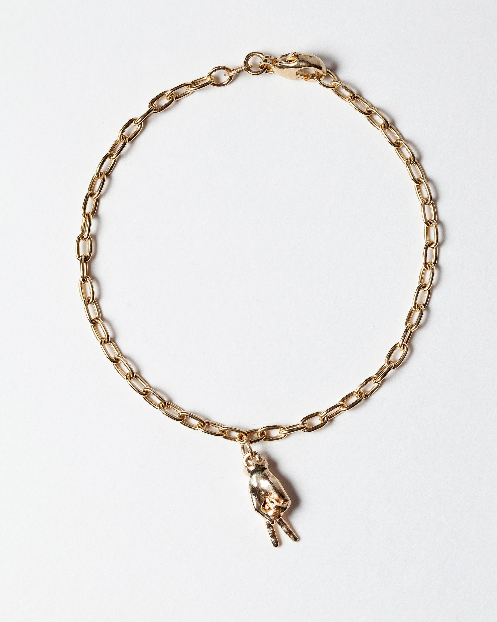 Sign Language Letter V Charm on Chain Bracelet