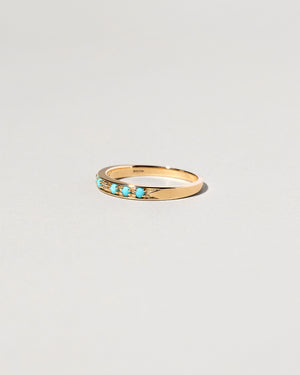 Right side view of Single Band Moon and Stars with turquoise