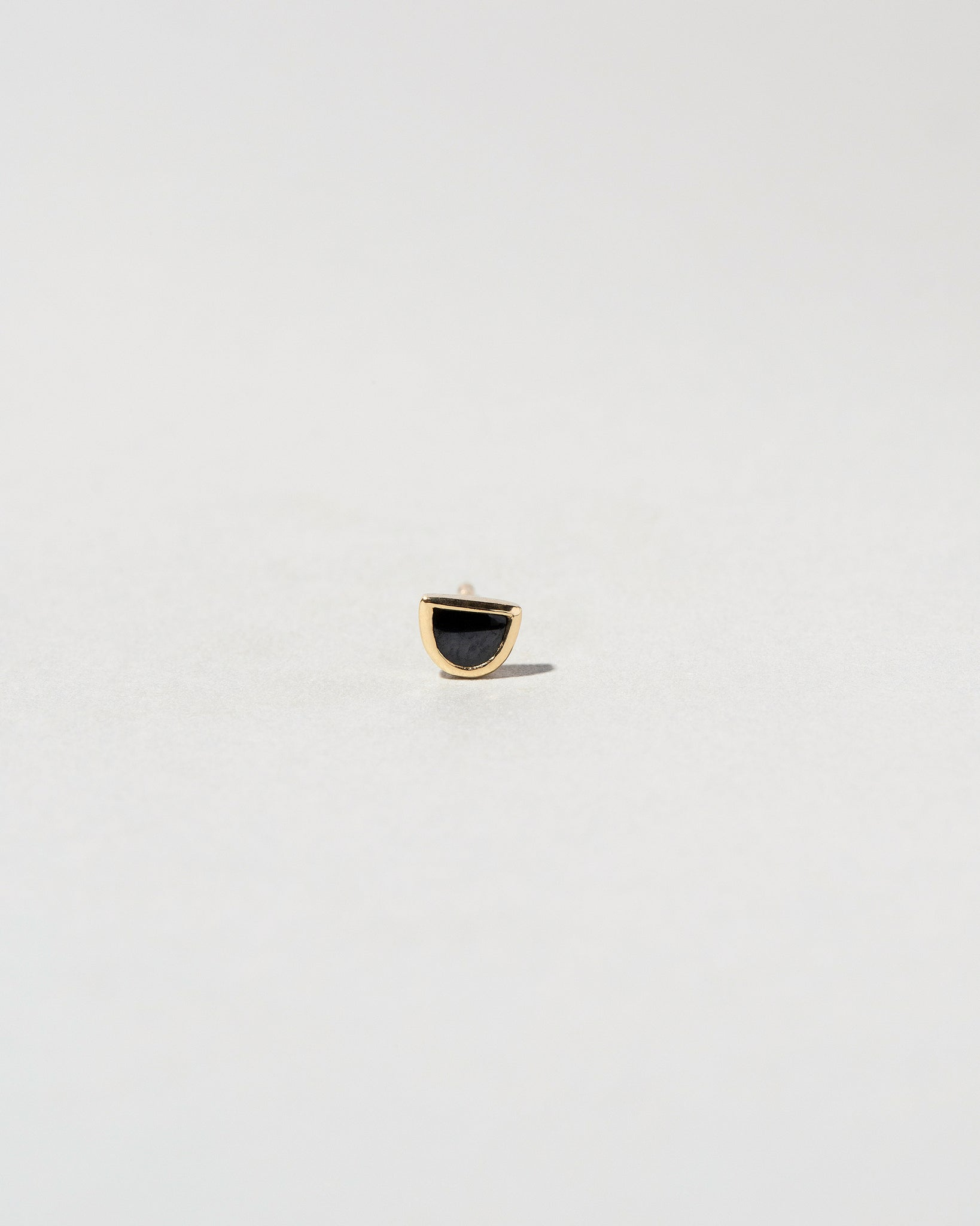 Single Half Moon Stud - Black Spinel