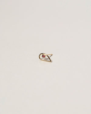 Single Sun Drop Stud Earring Garnet