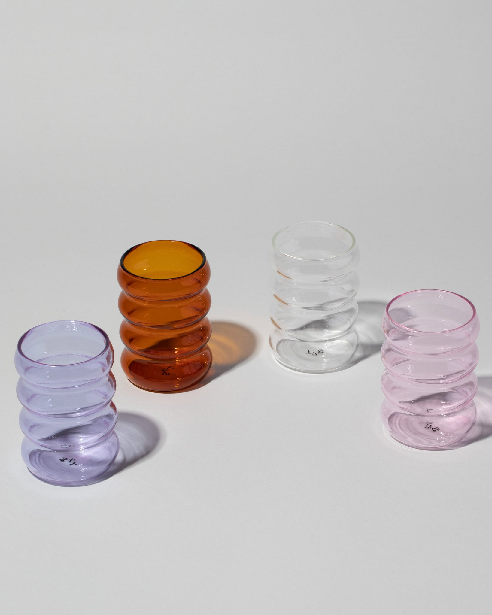 Ripple cup group image, styled ripple cups four standing in a semi circle