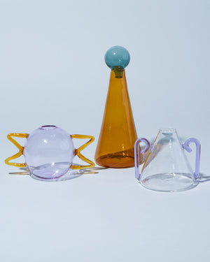 Sophie Lou Jacobsen decanter and squiggle vases