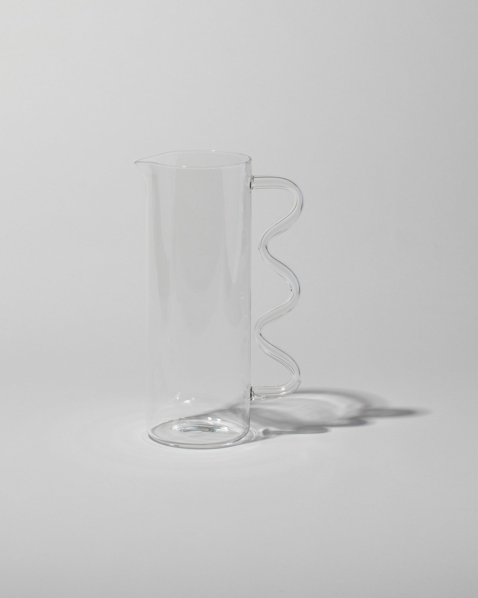 Wave Pitcher Clear with Clear Handle left side view