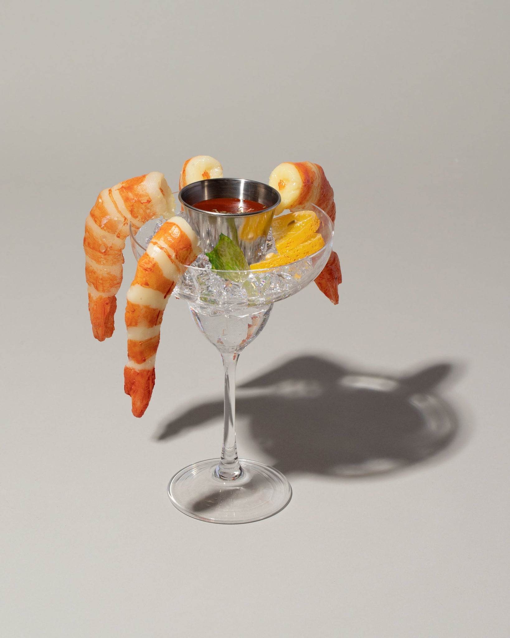 Spills Shrimp Cocktail on light color background