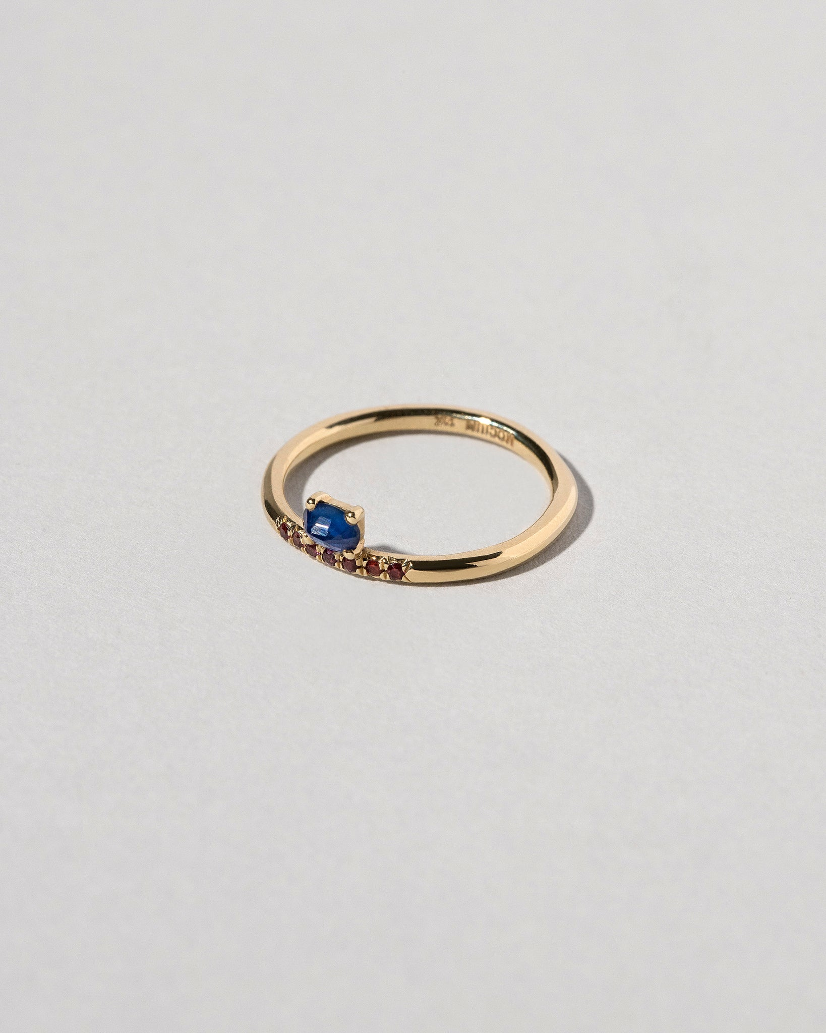Stacked Sapphire Ring with Pavé Ant Hill Garnets Side View
