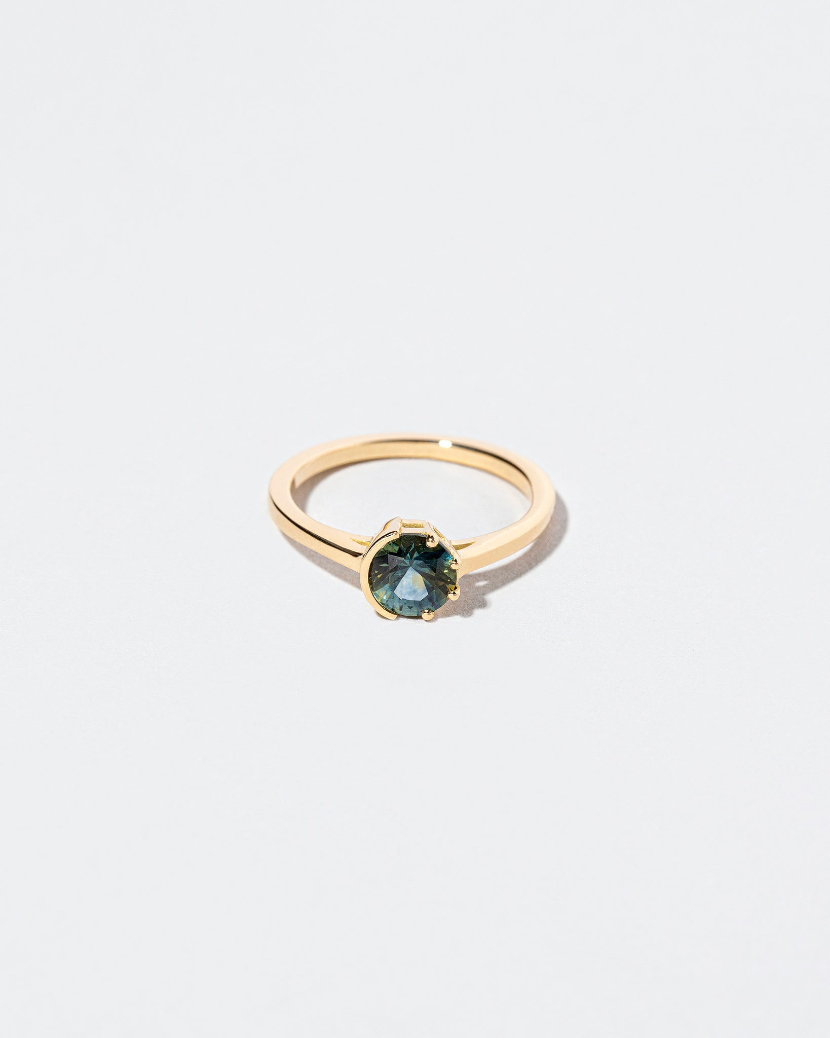 Bicolor Teal Sapphire Sun & Moon Ring front facing