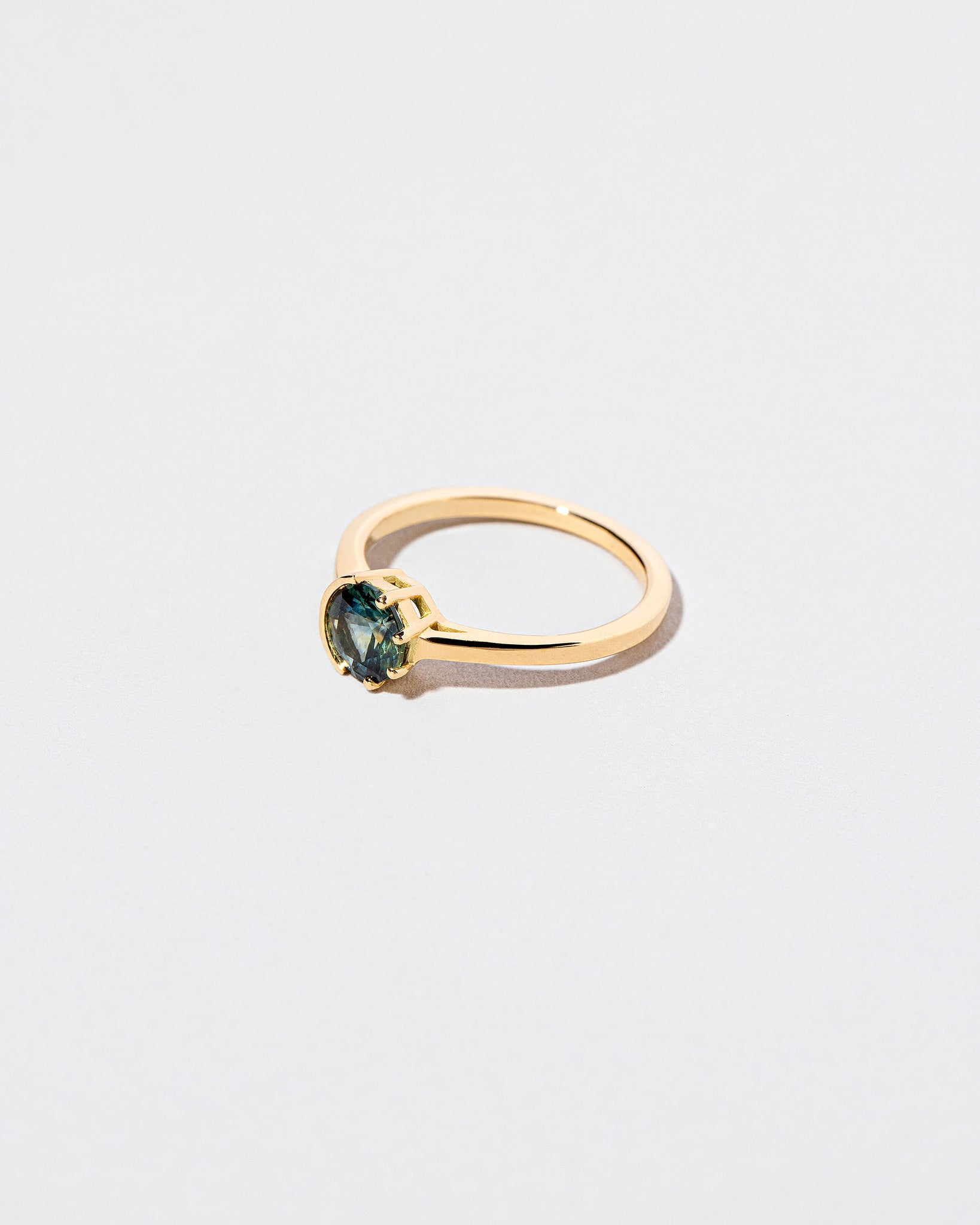 Bicolor Teal Sapphire Sun & Moon Ring left facing