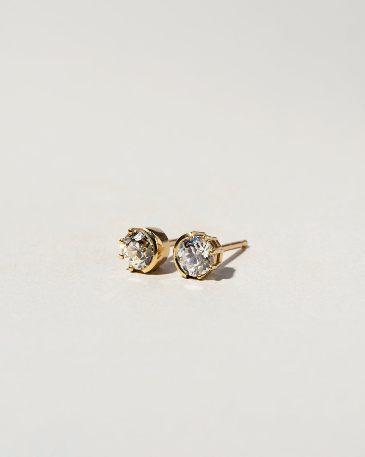 Sun & Moon Diamond Studs Front View