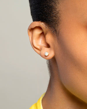 Sun & Moon Diamond Studs on Model