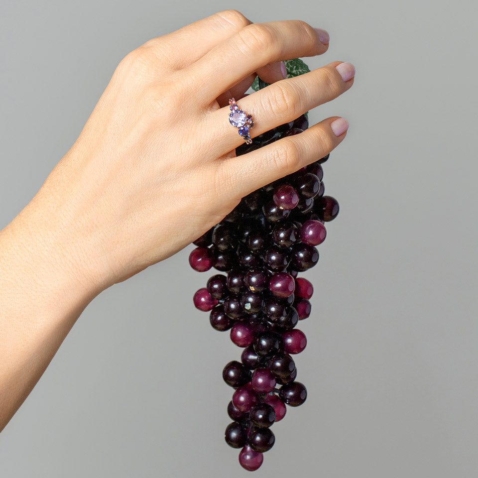 product_details::Purple Sapphire Super Luna Ring on model