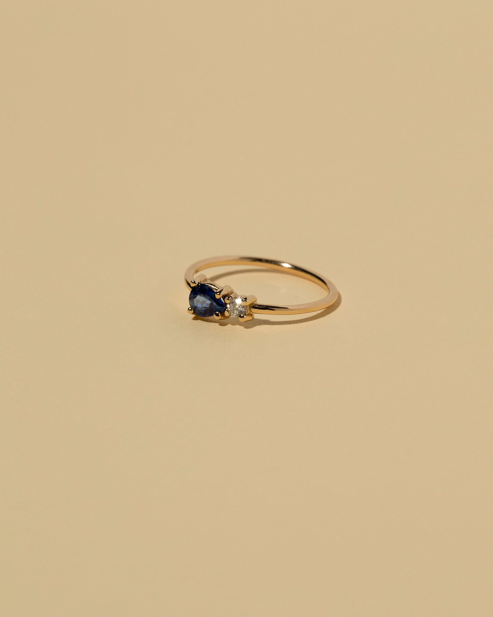 Teardrop Sapphire Cluster Ring Front View Right Side