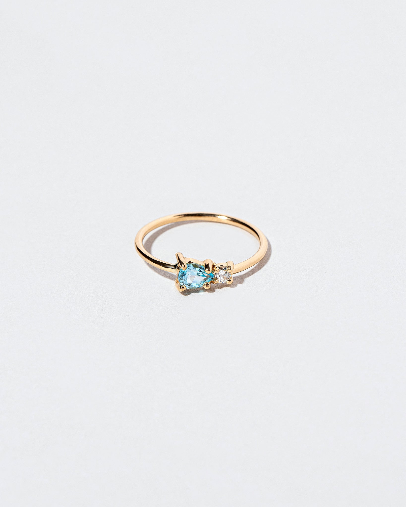 Blue Zircon Teardrop Ring front view