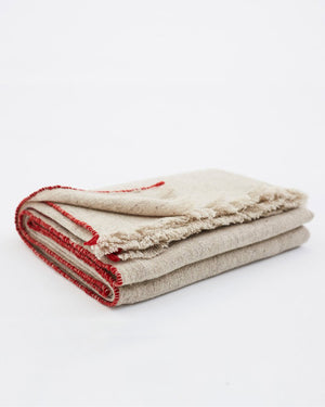 Teixidors Sisteron Throw in Grey-Terracotta folded