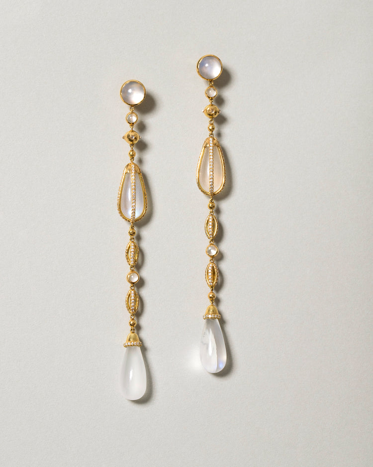 The Future Moonstone Drop Earrings Front View