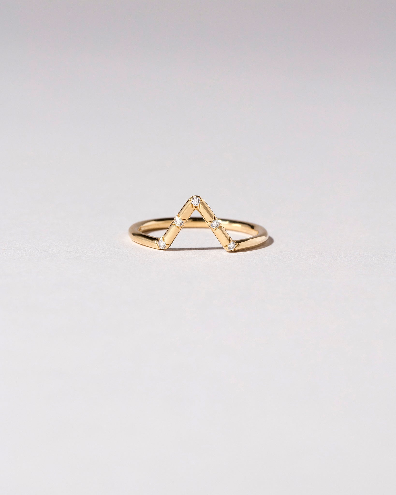 Triangle Band with Five Stones White Diamonds